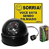 Camera dome infravermelho falsa c/ led a pilha s/ fio brinde