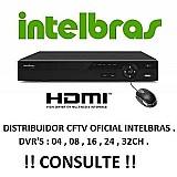 Kit cftv dvr intelbras hd 8cameras infra 800l/30m fonte cabo