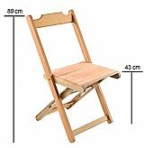 Cadeiras dobráveis - cor natural verniz