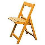 Cadeira de madeira dobravel amarela - 0, 39 x 0, 46 x 0, 82m (cxlxh)