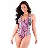 Maiô feminino com bojo estampado moda praia em trend
