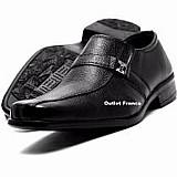 Sapato social masculino couro elastico bico quadrado barato