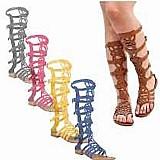 Sandalias rasteiras gladiadoras alta renda