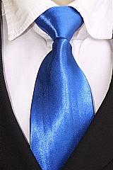 Gravata tradicional lisa com no e com brilho - azul royal