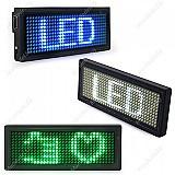 Cracha barra de led 8cm x 3cm mini display letreiro luminoso recarregavel