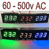 Kit 05 voltimetros digital led 60v 500v ac painel eletrico