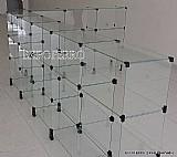 Balcao vitrine em vidro modulado l 1, 00x1, 50x2, 50 expoferro