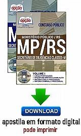 Apostila - secretário de diligências classes - m - ministerio publico / rs (mp/rs)