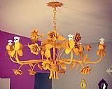 Lustre artesanal pendente 6 lampadas amarelo 90 diam x 45 alt