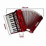 Sanfona acordeon 22 teclas, 8 baixos vermelha