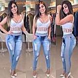 Calca jeans feminina moleton ou ribana