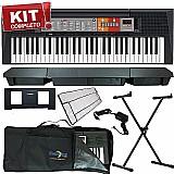 Kit teclado arranjador musical psr-f50 yamaha c/ fonte   sup