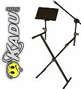 Estante suporte teclado 3 em 1 partitura   microfone oferta