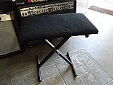 Banco para piano e teclado estofado preto