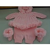 Conjunto agasalho casaco infantil calcas tricot inverno