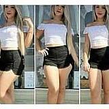 Short feminino curto cintura alta em bengaline