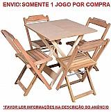 Jogo de mesa 70x70 c/4 cadeiras madeira dobravel restaurante