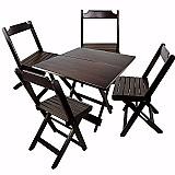 Conjunto dobravel bar e restaurante mesa 70x70 e 4 cadeiras