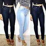 Calca jeans feminina cintura alta hot pants lycra cos alto