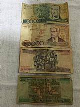 Cedulas cruzeiros antigo e moedas antigas reis,  cruzeiros,  cruzados e centavos