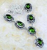 Colar de prata mais pedras ( gota verde) 32g