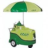 Carro gela coco modelo ml acg lisboa estampado completo com guarda sol torre gela coco e furador