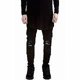 Calca masculina jeans sarja skinny preta rasgada