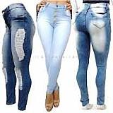 Calca jeans feminina hot pants cintura alta com lycra