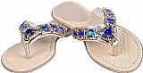 Rasteirinha sandalia chinelo em couro feminina com pedras