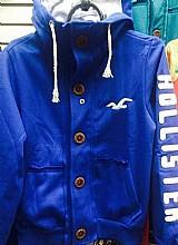 Blusa moleton hollister hco azul royal masculina botao 2016