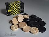 Pecas de jogo de dama - madeira - 24 pecas