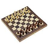 Jogo de xadrez dama e gamao tabuleiro madeira dobravel 29x29