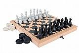 Tabuleiro jogo xadrez e damas oficial com estojo dobravel