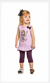 Conjunto infantil feminina menina malha glitter fada laco