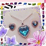 Kit de brincos e colar coracao strass safira azul - titanic