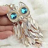 Colar corrente com pingente coruja blue eyes