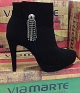 Bota feminina cano baixo ankle boot via marte 166909 liquida