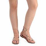 Sandalia rasteira gladiadora feminina vizzano - nude