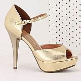 Sandalia salto feminina vizzano - ouro