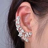 Retro cristal borboleta flor ear cuff brinco envoltorio clip