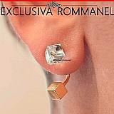 Rommanel brinco ear jacket cristal e peca cubo 6x6 525570