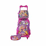 Kit mochila rodinha infantil carrinho escolar feminina