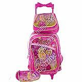 Kit mochila escolar infantil feminina com rodinhas 5 a 6 ano
