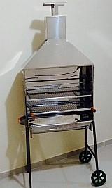 Churrasqueira inox para churrasquinho espetinho com carrinho