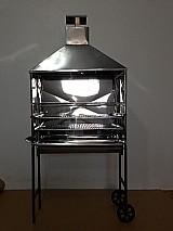 Carrinho churrasqueira inox para espetinhos com duas grelhas