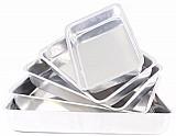 Jogo de 5 assadeiras tabuleiros alto de aluminio - bolo