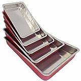 Conjunto 5 assadeiras de aluminio retangular ( forma