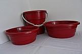 Kit 1 balde e 2 bacias em plastico cor vermelha