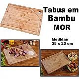 Tabua cortar carne retangular bambo 35x25 cm bambu churrasco