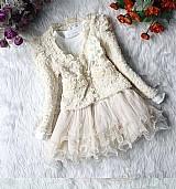 Conjunto infantil vestido   casaco importado mangas longas